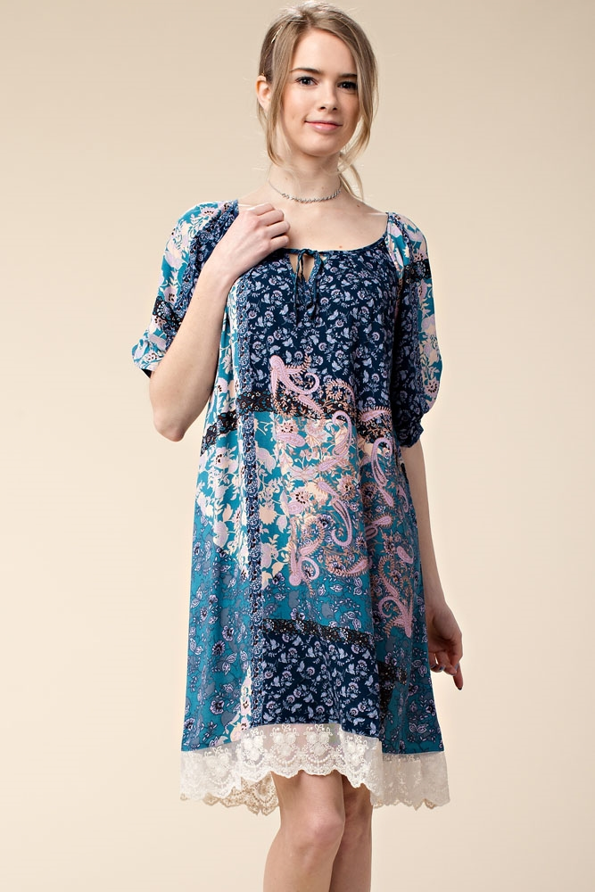 PRINT DRESS WITH LACE HEM - orangeshine.com