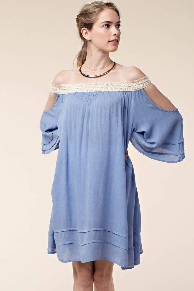 OPEN SHOULDER PEASANT DRESS - orangeshine.com