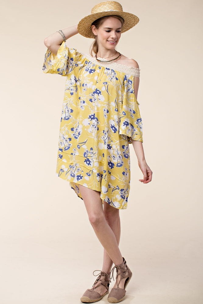 FLORAL PRINT PEASANT DRESS - orangeshine.com