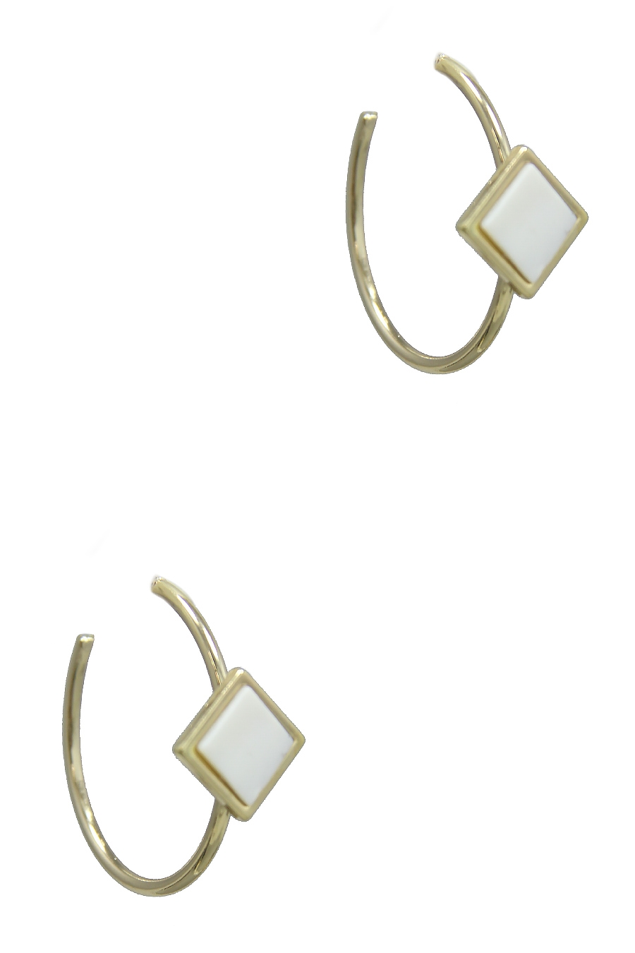 DIAMOND SHAPE HOOP EARRING - orangeshine.com