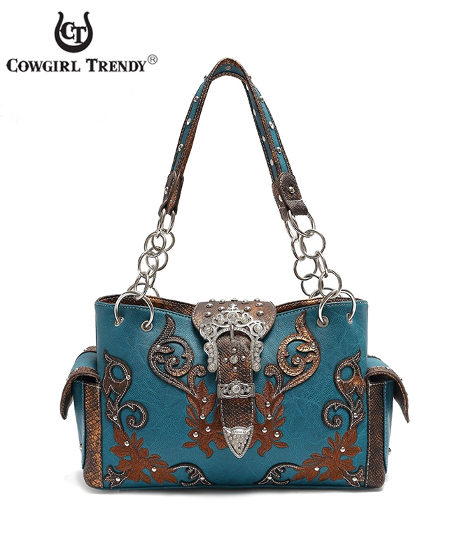 Embroidered Buckled Handbag - orangeshine.com