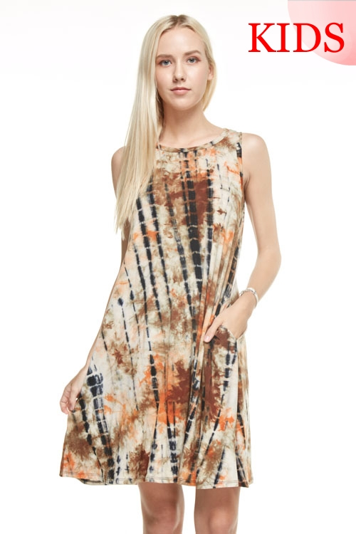 TIE DYE TANK MIDI DRESS - orangeshine.com