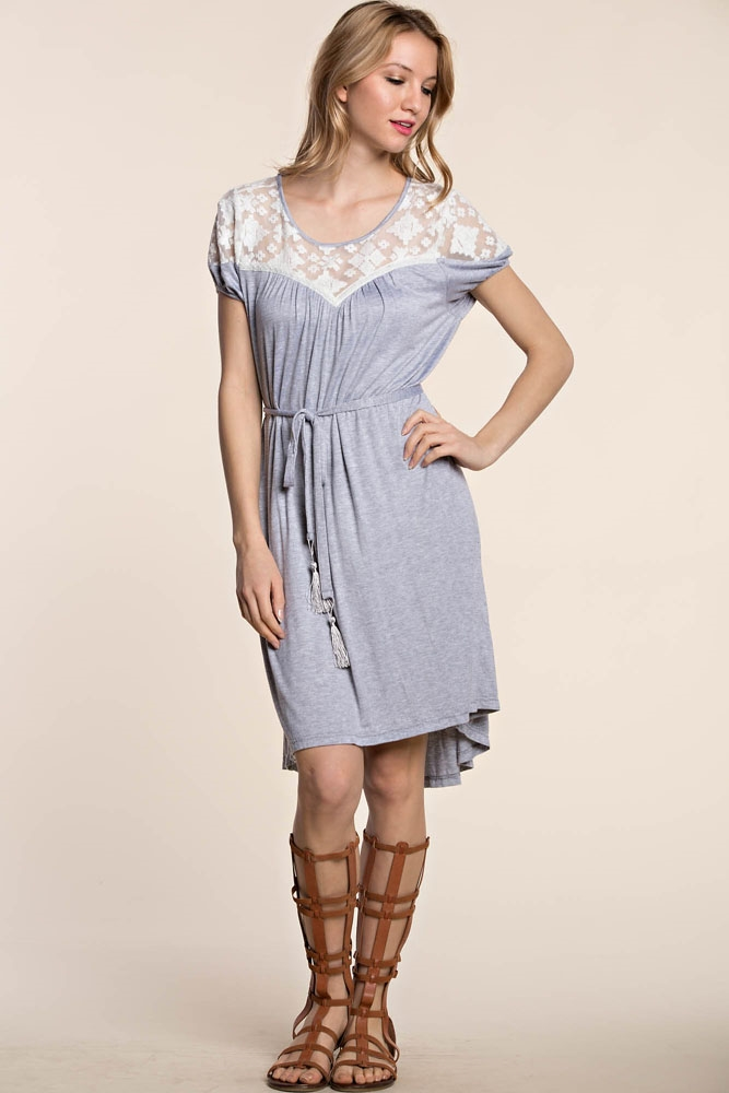 KNIT JERSEY DRESS W/ LACE YOKE - orangeshine.com