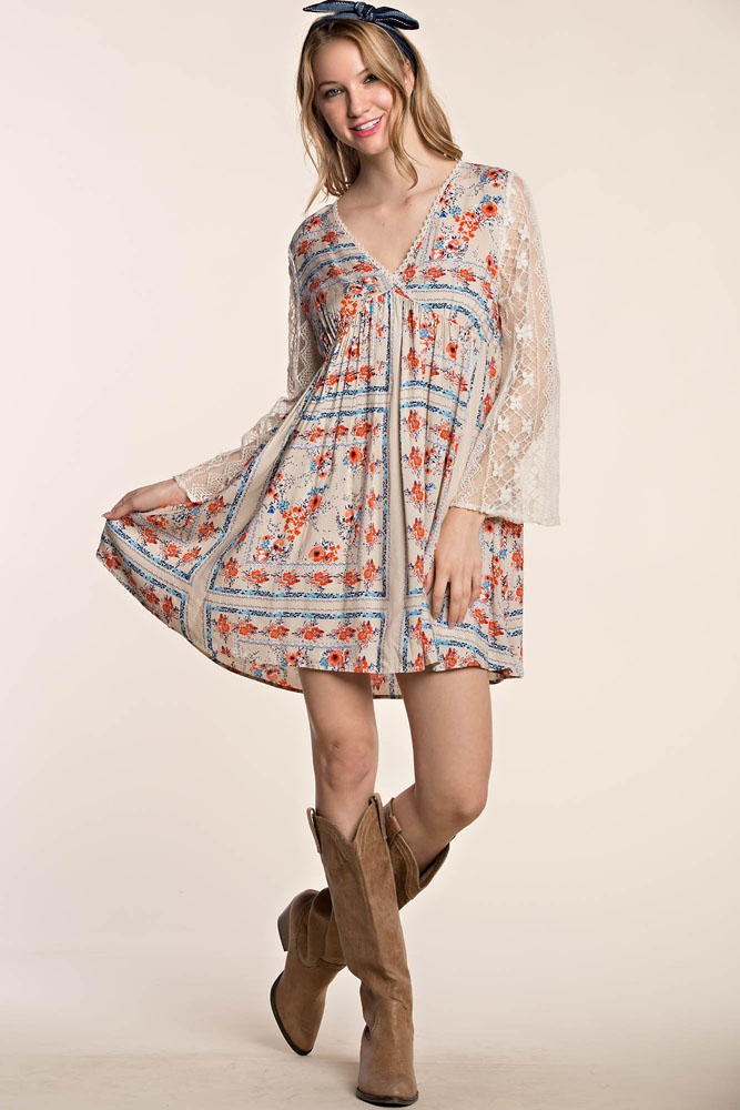 FLORAL BORDER  PRINT DRESS - orangeshine.com