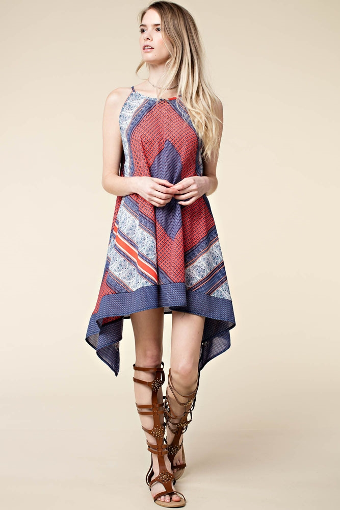 PRINT CAFTAN TANK CAMI DRESS - orangeshine.com