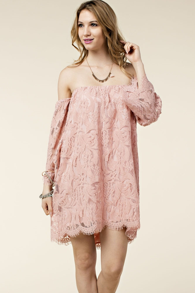 BOHO OFF SHOULDER LACE DRESS - orangeshine.com