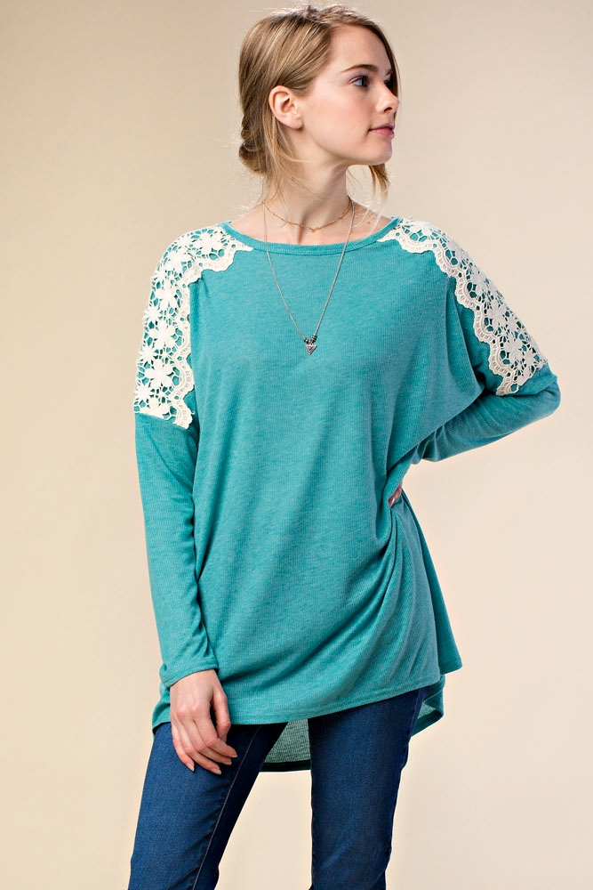 TOP W/ SHOULDER LACE DETAIL - orangeshine.com