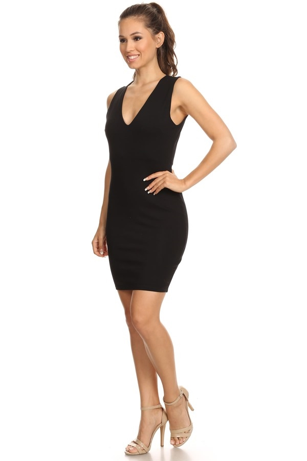 V-Neck Bodycon Dress - orangeshine.com
