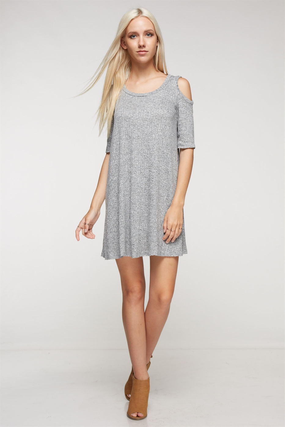 half sleeve coldshoulder dress - orangeshine.com