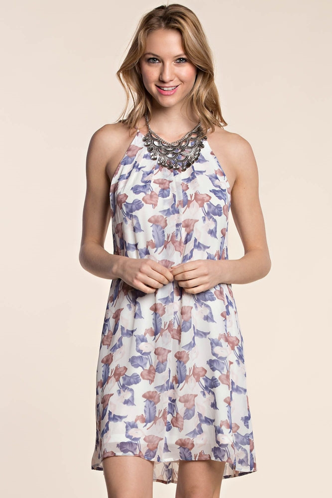 FLORAL PRINT HALTER DRESS - orangeshine.com