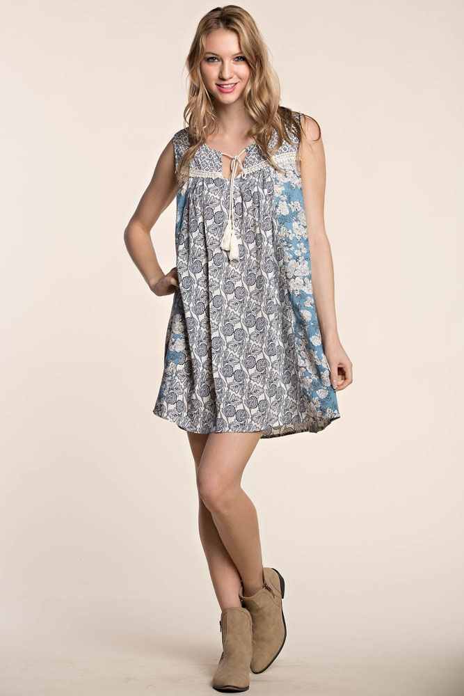 MIX PRINT MINI DRESS W/ TIE - orangeshine.com