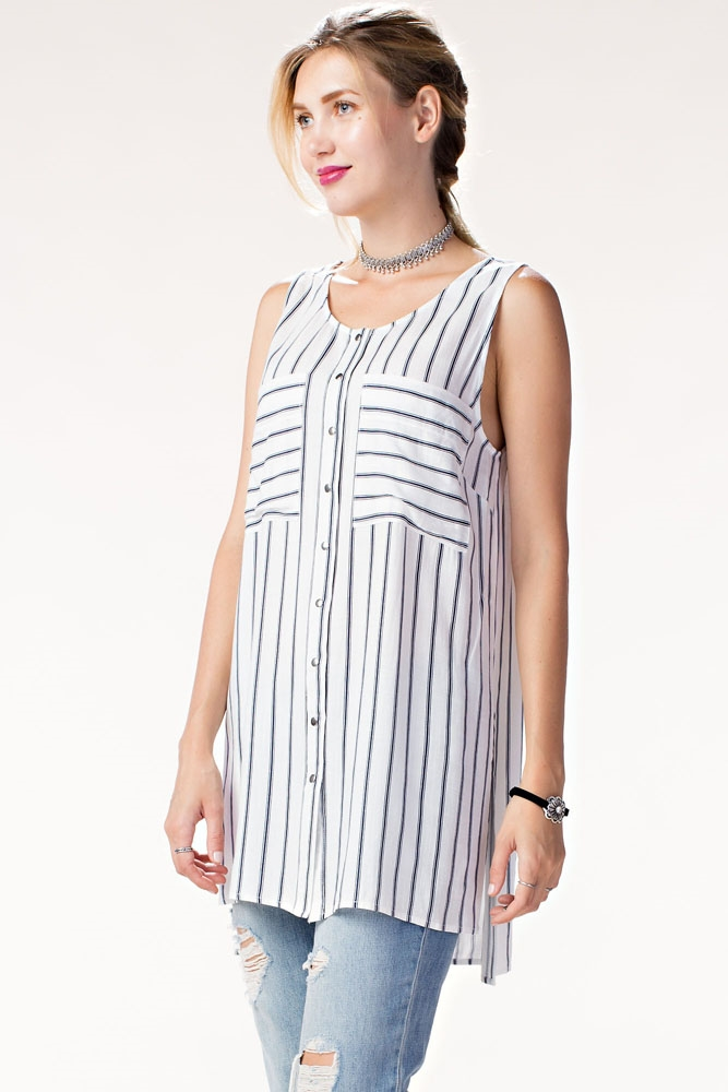 SLEEVELESS STRIPE TUNIC SHIRT - orangeshine.com