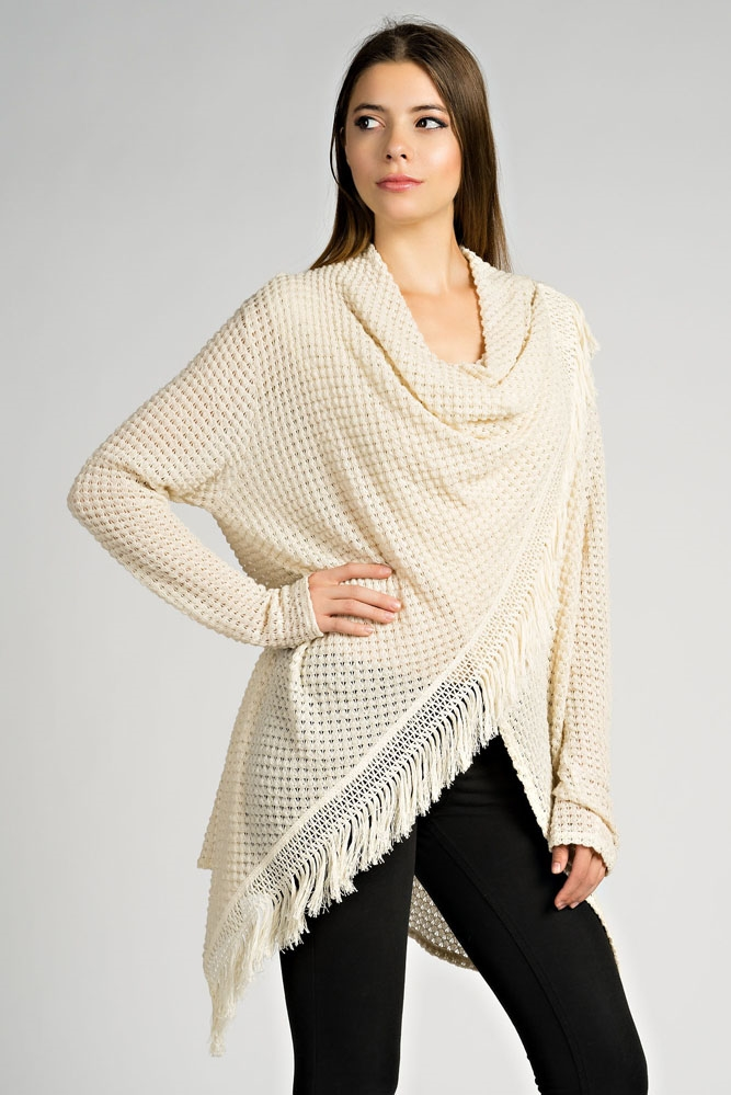BUBBLE KNIT WRAP CARDIGAN - orangeshine.com