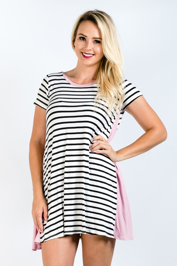 SIDE POCKETS STRIPE TUNIC - orangeshine.com