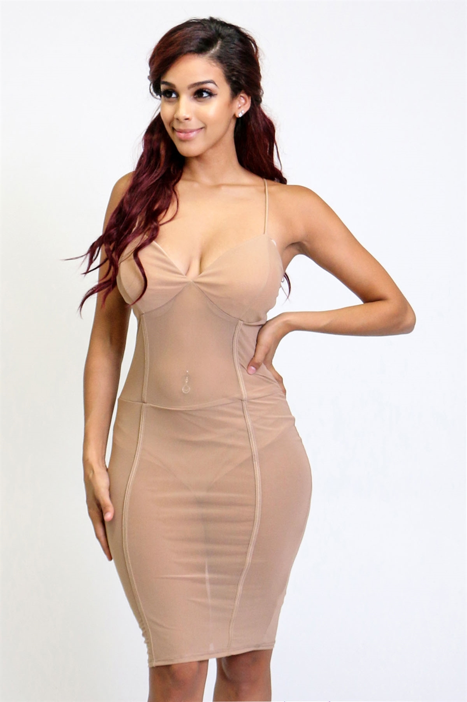Spaghetti strap bodycon dress - orangeshine.com