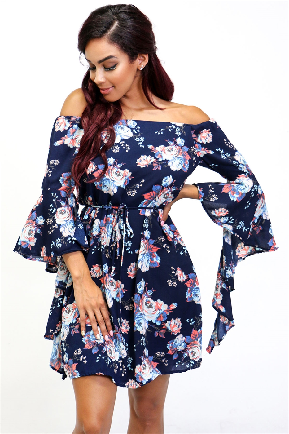 Off shoulder floral swing dres - orangeshine.com