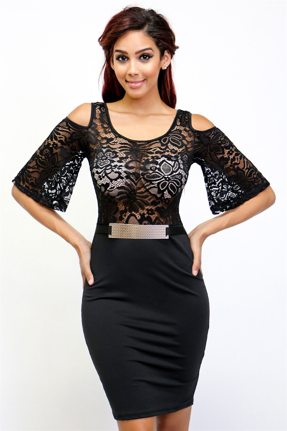 floral lace top bodycon dress - orangeshine.com