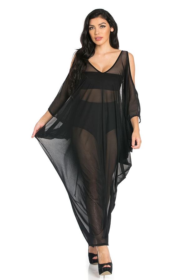 Mesh Cocoon Maxi Dress - orangeshine.com