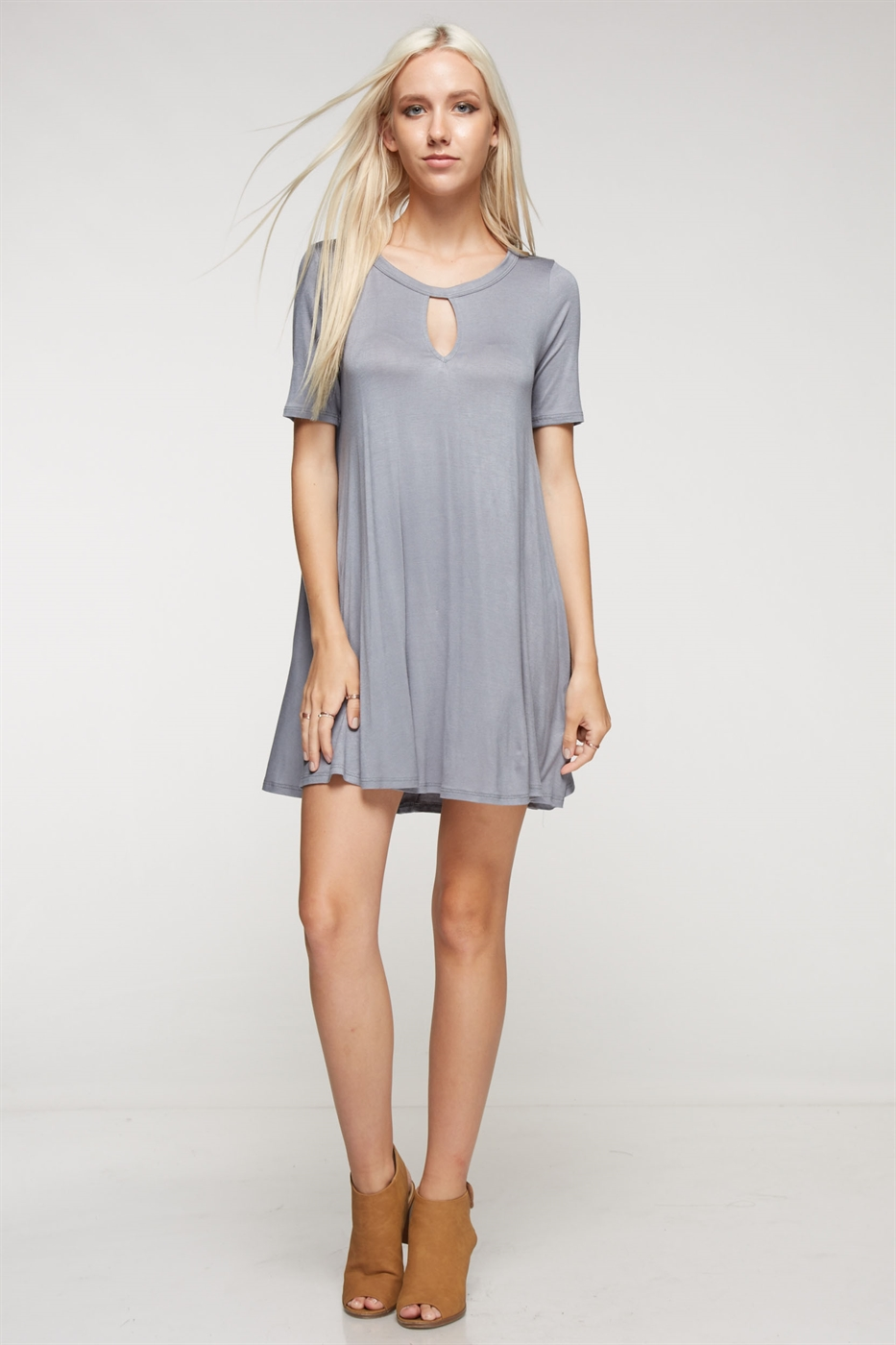 Short sleeve keyhole dress - orangeshine.com