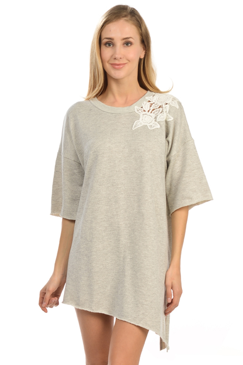 GREY UNBALANCED TUNIC - orangeshine.com