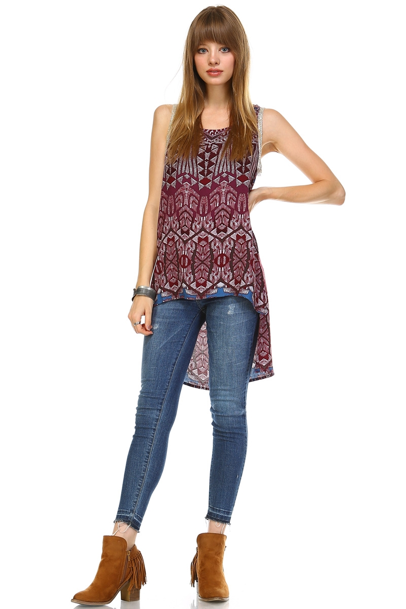 BURGUNDY  UNBALANCED TUNIC - orangeshine.com