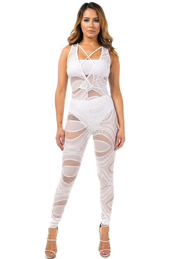 Strappy lace jumpsuit - orangeshine.com