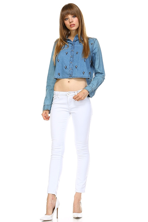 EMBELLISHED DENIM SHIRT - orangeshine.com