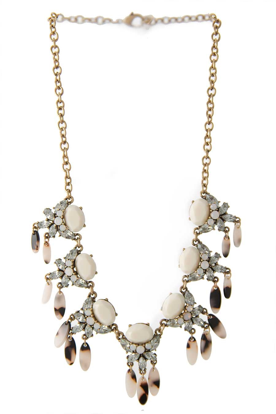 JEWELED FAN DROP NECKLACE  - orangeshine.com
