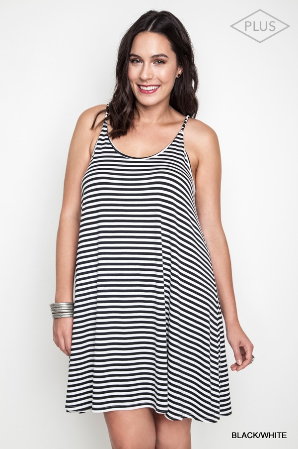 CASUAL STRIPED TANK DRESS - orangeshine.com