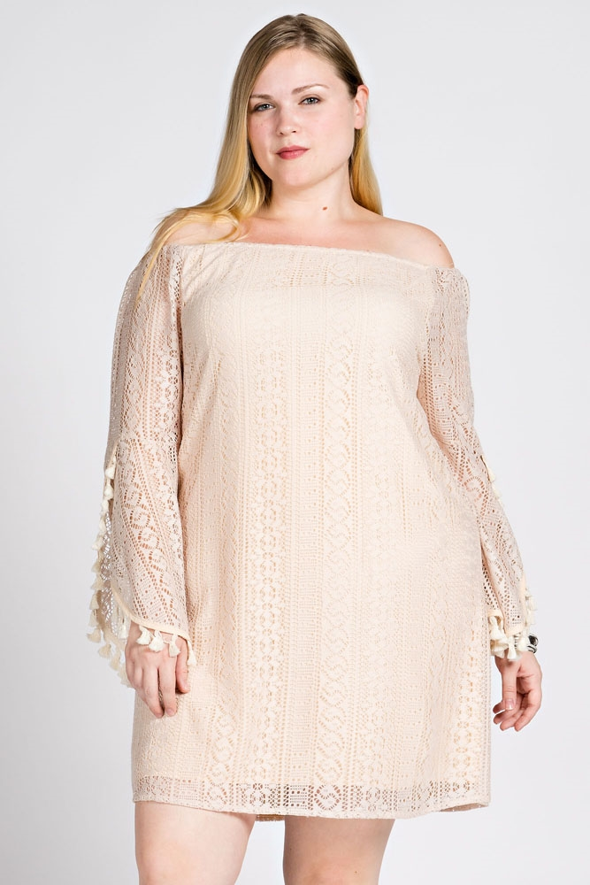 OFF THE SHOULDER LACE DRESS - orangeshine.com