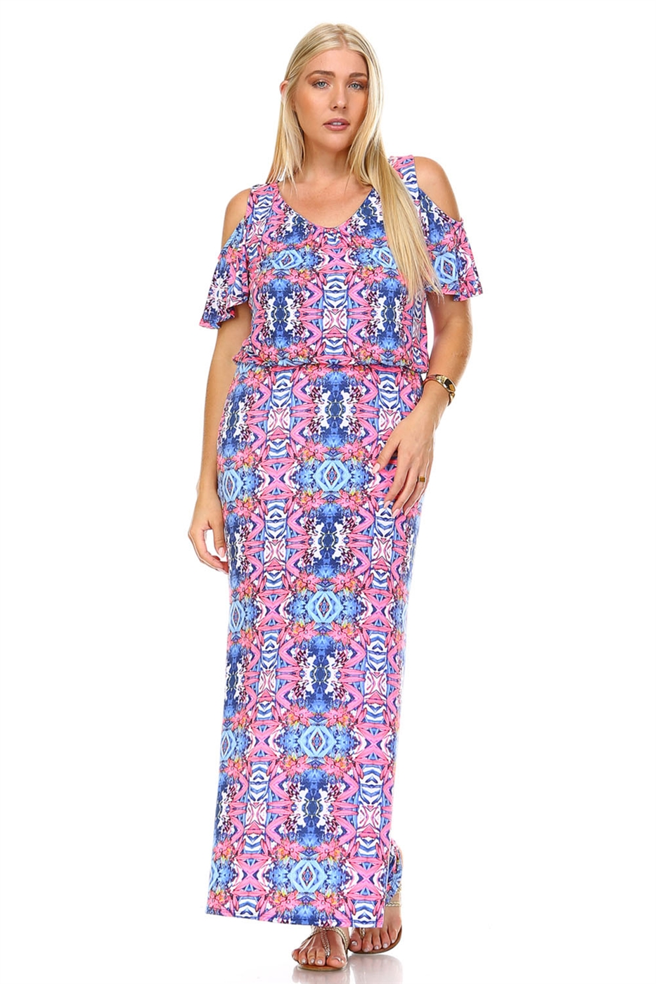 COLD SHOULDER MAXI DRESS - orangeshine.com
