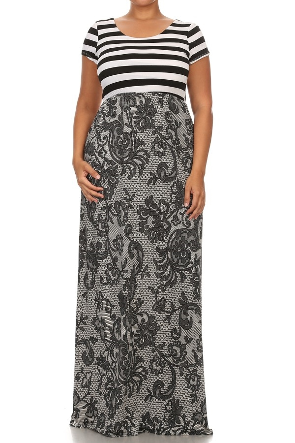 Striped and Print Maxi Dress - orangeshine.com