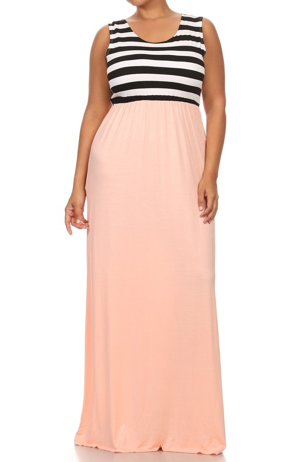 Striped and Solid Maxi Dress - orangeshine.com