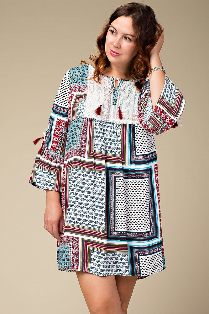 PLUS SIZE CONTRAST PRINT DRESS - orangeshine.com