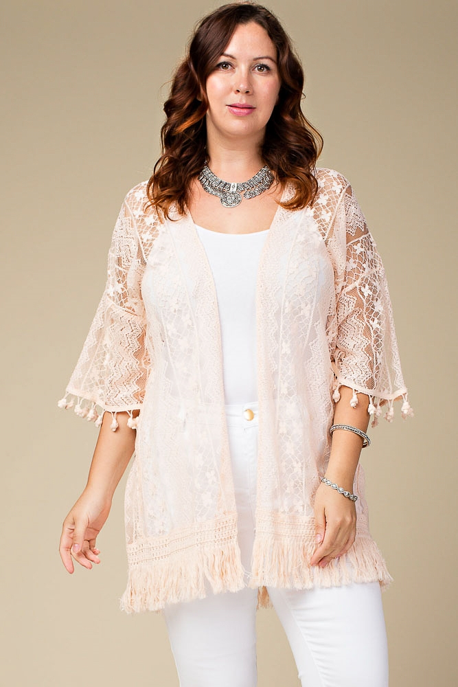 PLUS LACE CARDIGAN W/ FRINGE - orangeshine.com