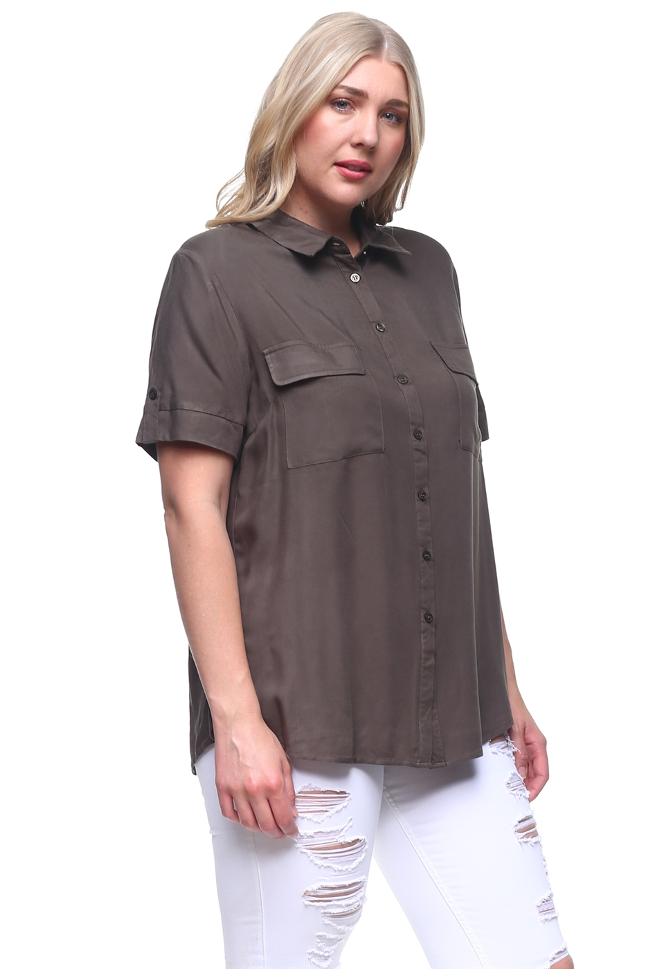 Plus Button Down Shirt Blouse - orangeshine.com