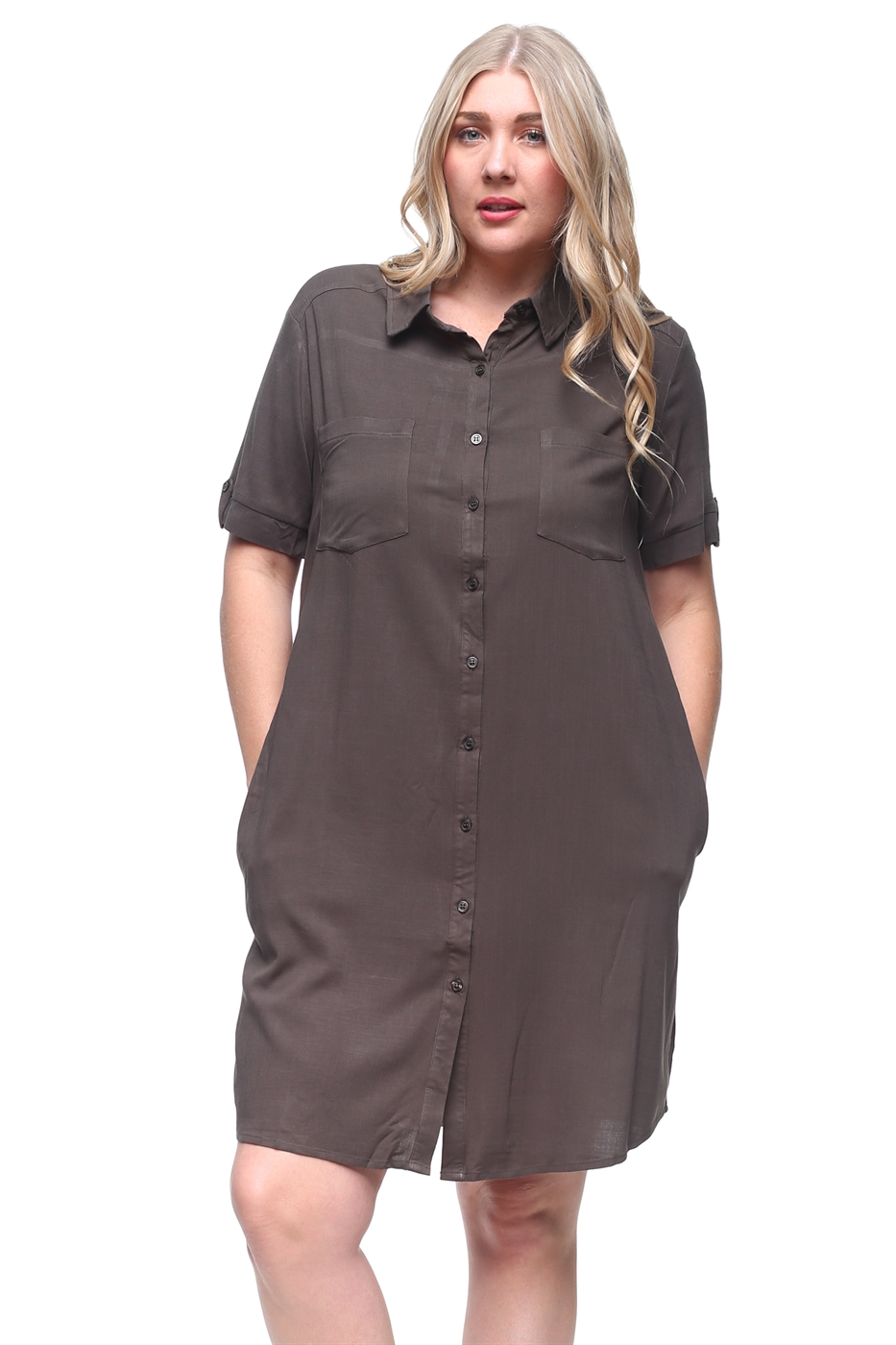 Plus button down shirt dress - orangeshine.com