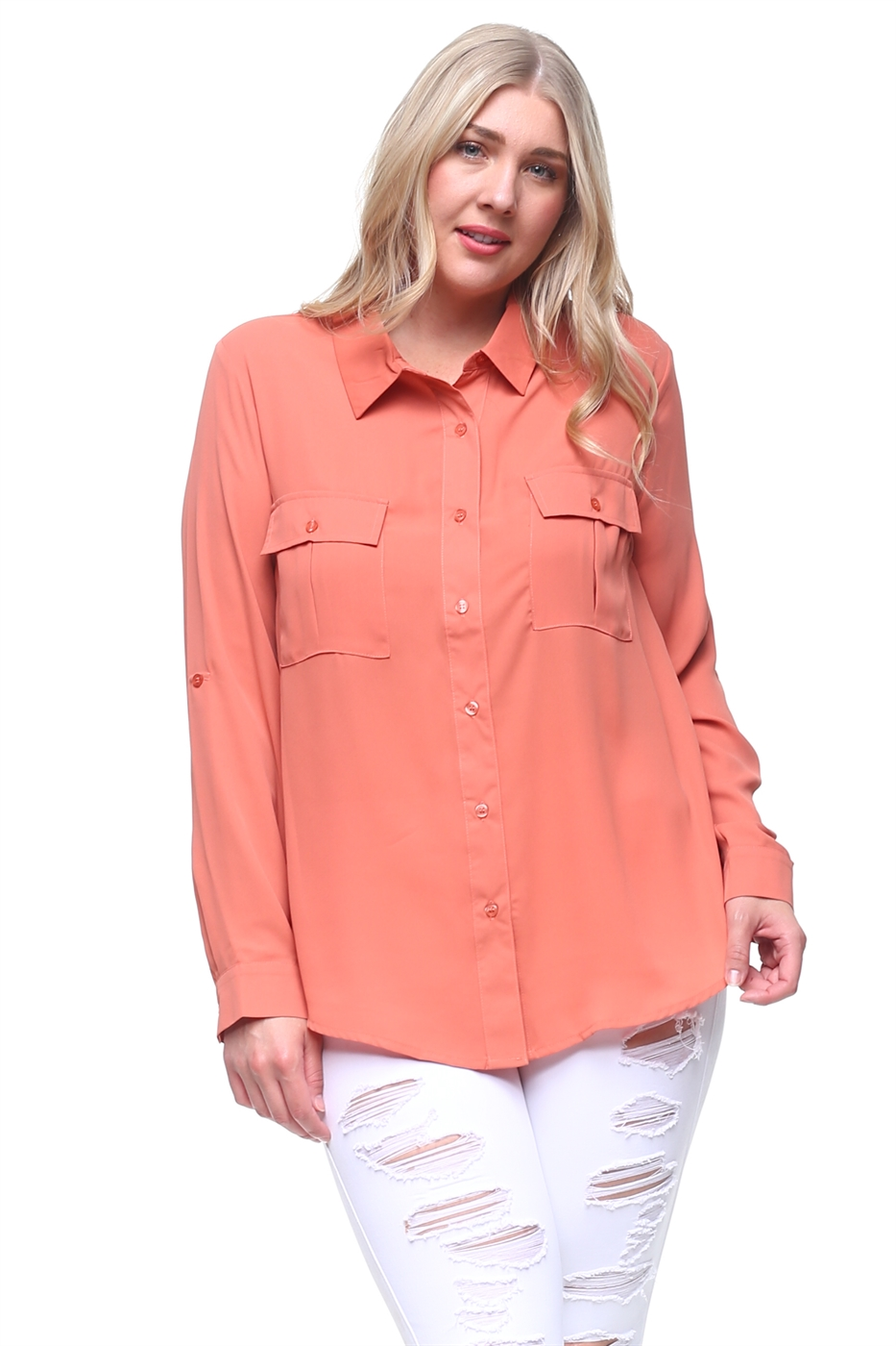 Plus Woven Chiffon Chic Blouse - orangeshine.com