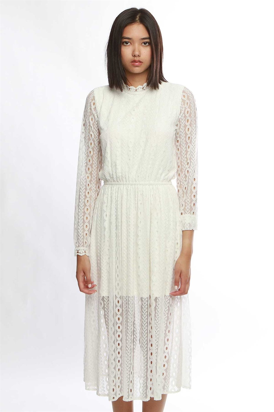illusion lace long sleeve dres - orangeshine.com