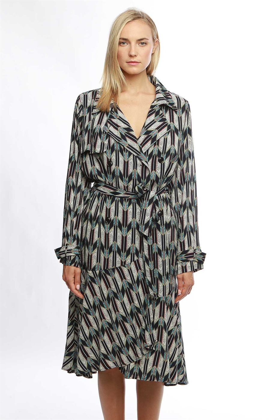 Feather printed trench coat - orangeshine.com