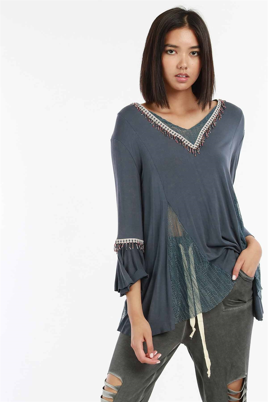 BELL SLEEVE TUNIC TOP - orangeshine.com