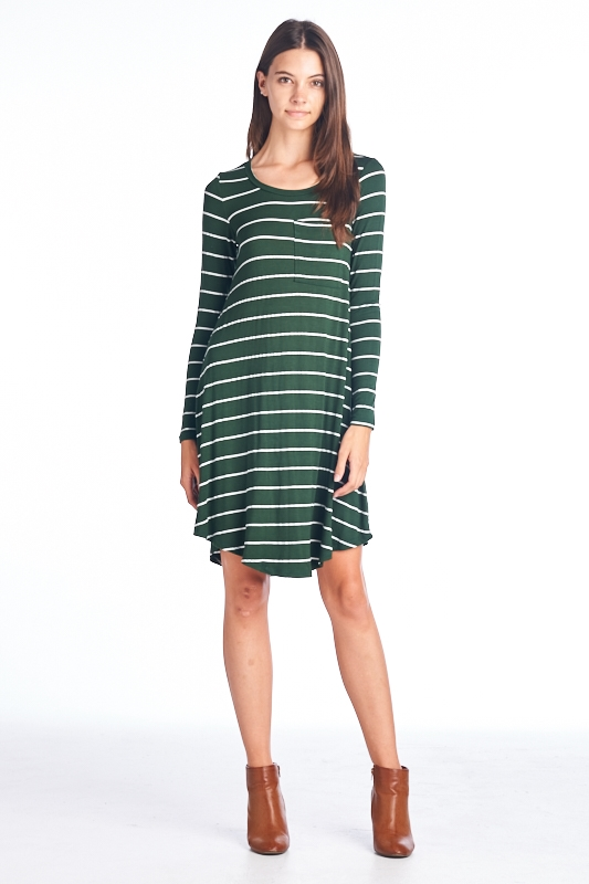 long sleeve striped dress - orangeshine.com