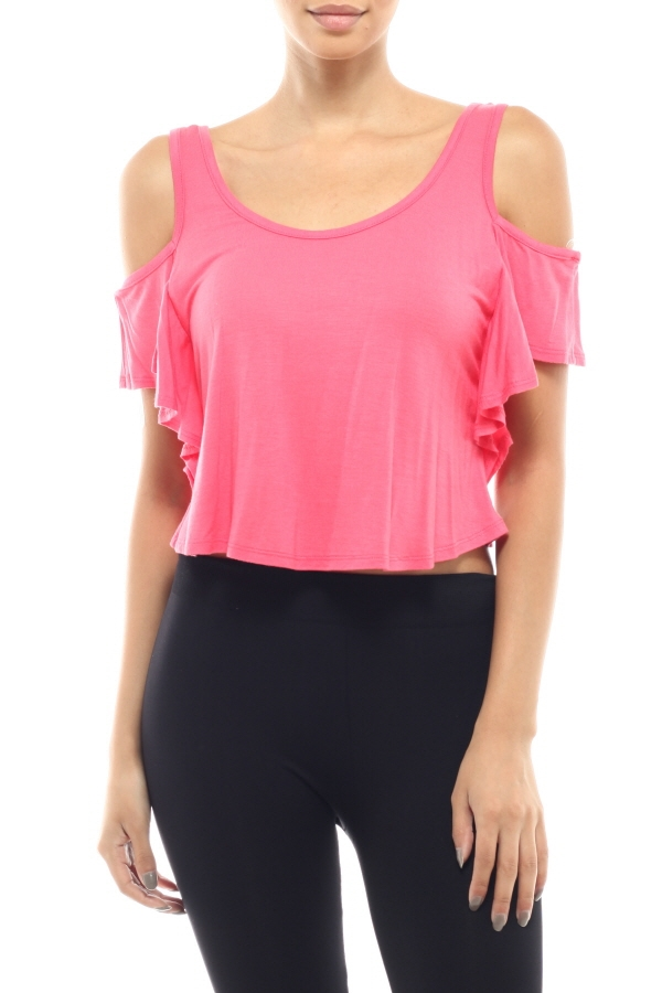 Ruffle Dancing Crop Top - orangeshine.com