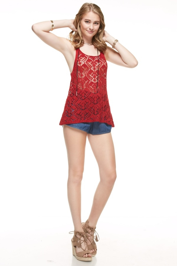Open Crochet Tank Top  - orangeshine.com