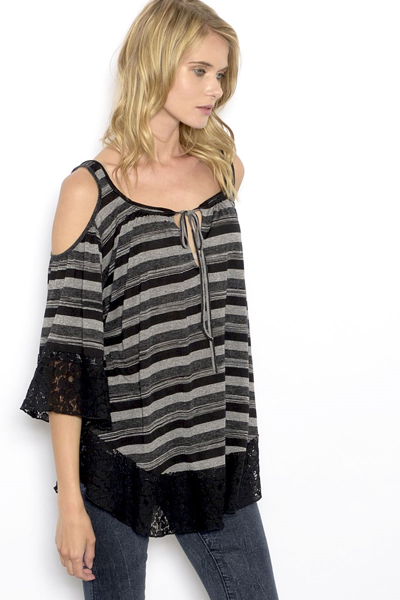 KNIT COLD SHOULDER TOP - orangeshine.com
