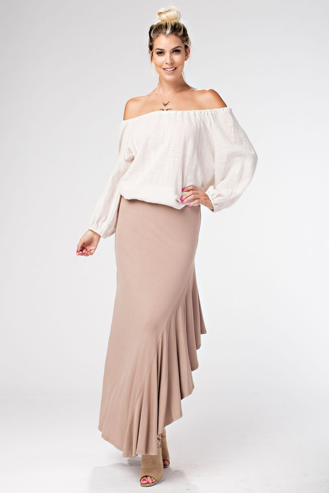 SIDE RUFFLE LONG SKIRT - orangeshine.com