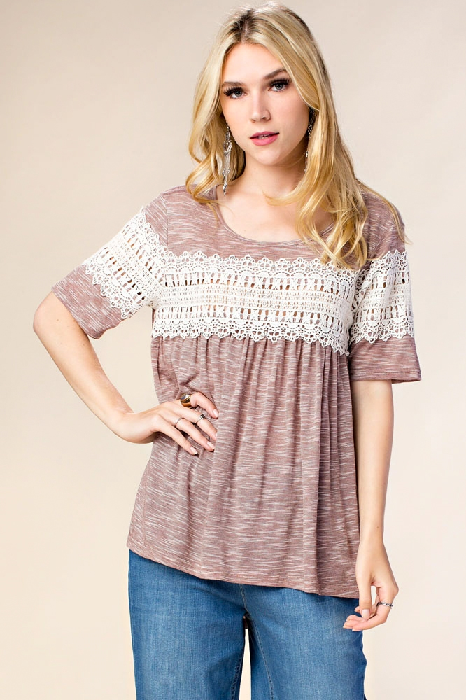 LACE INSERTED KNIT T-SHIRT - orangeshine.com