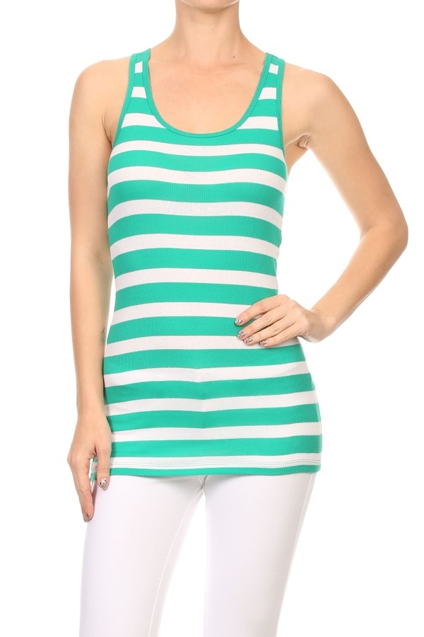 STRIPED RACERBACK TANK TOP - orangeshine.com