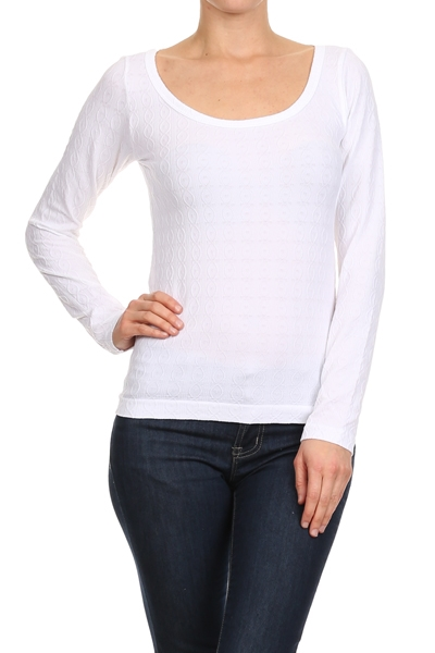 Textured Scoop neck Tops White - orangeshine.com