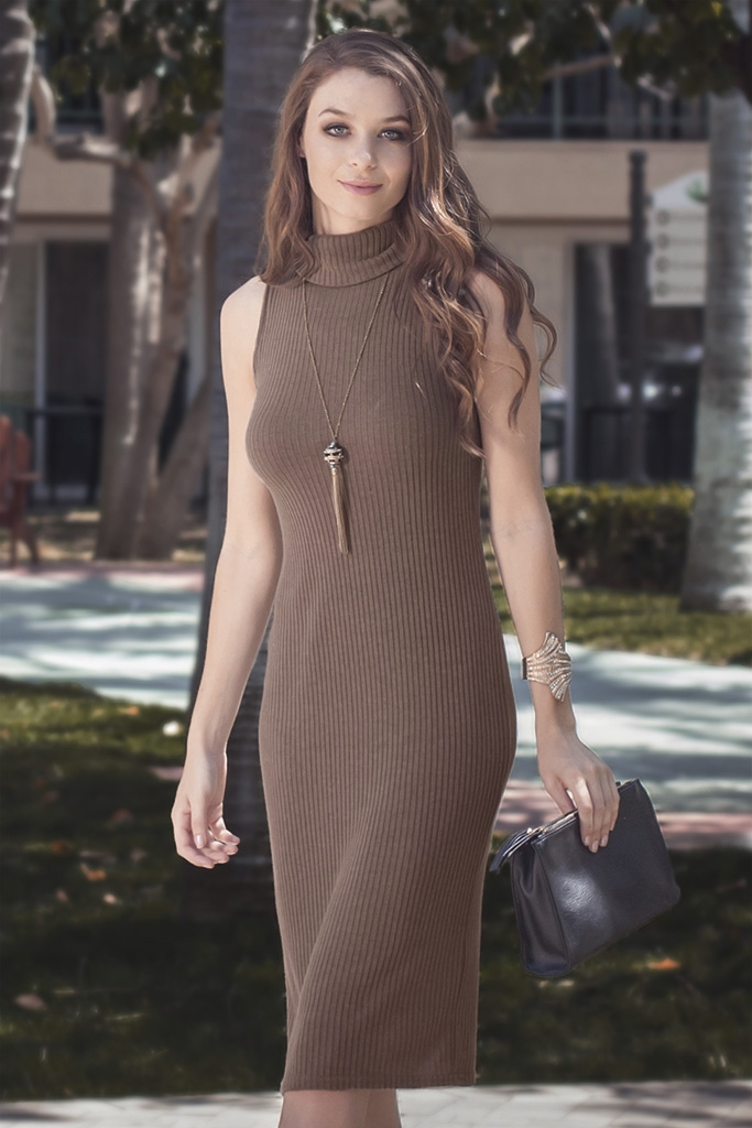 SL1756 TURTLENECK MIDI BODYCON - orangeshine.com